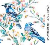 blue jay on a flowering branch. ... | Shutterstock . vector #271348424