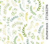 pattern of flowers and grasses... | Shutterstock .eps vector #271362296
