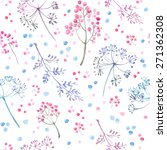 pattern of flowers and grasses... | Shutterstock .eps vector #271362308
