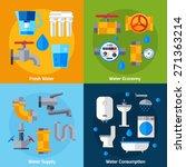 water supply design concept set ...   Shutterstock .eps vector #271363214