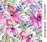 beautiful seamless floral... | Shutterstock .eps vector #271364399