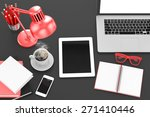 workplace  top view   Shutterstock . vector #271410446