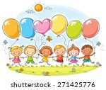 happy kids outdoors with... | Shutterstock .eps vector #271425776