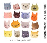 16 cute watercolor cats in... | Shutterstock .eps vector #271430408