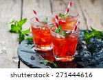 red cocktail with mint and ice  ...   Shutterstock . vector #271444616