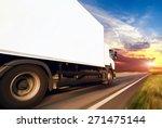 white truck on the asphalt... | Shutterstock . vector #271475144