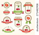 cherry labels. fruits badges... | Shutterstock .eps vector #271482908