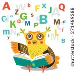 funny owl learn to read book on ... | Shutterstock .eps vector #271489388