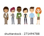 set of diverse college or... | Shutterstock .eps vector #271494788