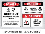set of danger high voltage... | Shutterstock .eps vector #271504559