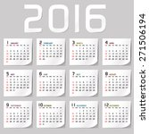 simple 2016 calendar   2016... | Shutterstock .eps vector #271506194