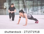 woman doing push ups exercises... | Shutterstock . vector #271571918
