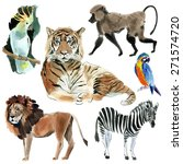 set of wild african animals.... | Shutterstock . vector #271574720