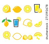 lemon  lime   food icons set | Shutterstock .eps vector #271592678