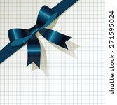 dark blue ribbon on checkered... | Shutterstock .eps vector #271595024