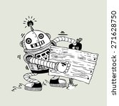 cheerful robot with the board... | Shutterstock .eps vector #271628750