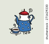 cheerful boil kettle and cup... | Shutterstock .eps vector #271629230
