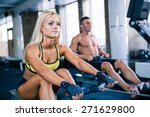 muscular man and sporty woman... | Shutterstock . vector #271629800
