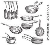 set of frying pans  | Shutterstock .eps vector #271647776