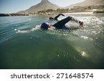 triathlon swimmers churning up... | Shutterstock . vector #271648574