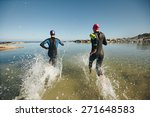 two athletic swimmers entering... | Shutterstock . vector #271648583