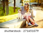 Smiling Hipster Girl With Her...
