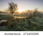 Sunrise Over A Misty Marshland...
