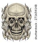 skull tattoo.hand pencil...   Shutterstock . vector #271654148