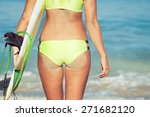 beautiful surfer girl standing... | Shutterstock . vector #271682120