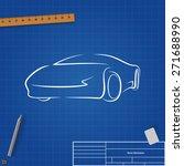 sketch cars on blueprint... | Shutterstock .eps vector #271688990