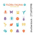vector flat icon set   flora...