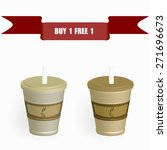 disposable coffee cups with the ... | Shutterstock .eps vector #271696673