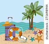 family travel desing over beach ... | Shutterstock .eps vector #271698944