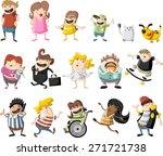 colorful cute happy cartoon... | Shutterstock .eps vector #271721738