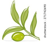 olive branch with olive leaves... | Shutterstock .eps vector #271742690