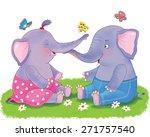 two cute elephants  sitting on... | Shutterstock . vector #271757540