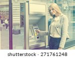 young woman using bank atm... | Shutterstock . vector #271761248