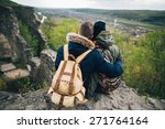 embrace of lovers  tourists at... | Shutterstock . vector #271764164