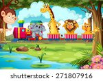 Stock vector many animals riding on a train 271807916