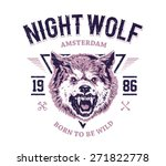 night wolf grunge print. vector ...
