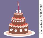 birthday cake  30 years | Shutterstock .eps vector #271829303