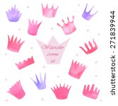 watercolor princess crowns set | Shutterstock .eps vector #271839944