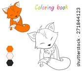 coloring book fox kids layout... | Shutterstock .eps vector #271844123