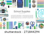 school supplies on white... | Shutterstock . vector #271844294