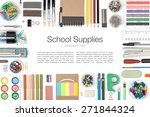 school supplies on white... | Shutterstock . vector #271844324