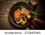 gourmet meal of marinated pork... | Shutterstock . vector #271844360