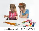 boy and girl with clipboard... | Shutterstock . vector #271856990