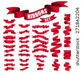 big red ribbons set  isolated... | Shutterstock .eps vector #271862204