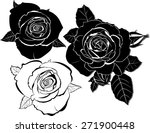 set of silhouettes of roses... | Shutterstock .eps vector #271900448
