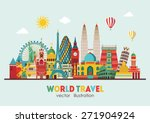 travel and tourism background.... | Shutterstock .eps vector #271904924